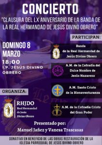 "Concierto ""Clausura LX Aniversario Banda"". @ I.P. JESÚS DIVINO OBRERO"